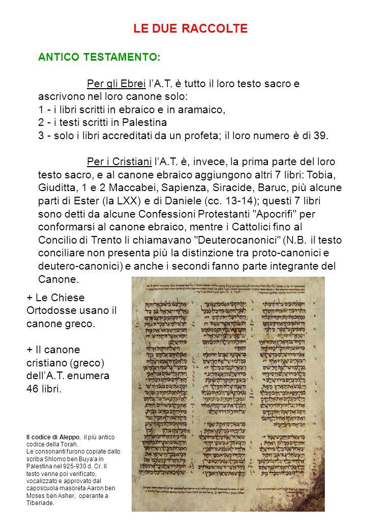 LE DUE RACCOLTE ANTICO TESTAMENTO: Per gli Ebrei lA.T. è tutto il loro testo sacro e ascrivono nel loro canone solo: 1 - i libri scritti in ebraico e