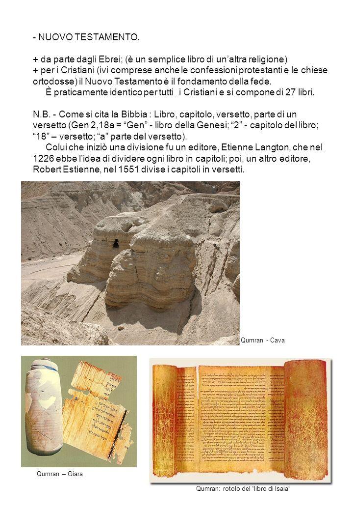 IL CANONE BIBLICO PER GLI EBREI (questa divisione in 24 libri la si trova già negli scritti di Giuseppe Flavio; I sec.d.C) I - TORAH (Legge): 1 – Genesi; 2 – Esodo; 3 – Levitico; 4 – Numeri; 5 – Deuteronomio II - NEVIHIM (Profeti): Anteriori: 6 – Giosuè; 7 – Giudici; 8 – Samuele (I e II uniti); 9 – Re (I e II uniti) Posteriori: 10 – Isaia; 11 – Geremia; 12 – Ezechiele 13 – I dodici profeti [ Osea, Gioele, Amos, Abdia, Giona, Michea, Naum, Abacuc, Sofonia, Aggeo, Zaccaria, Malachia].