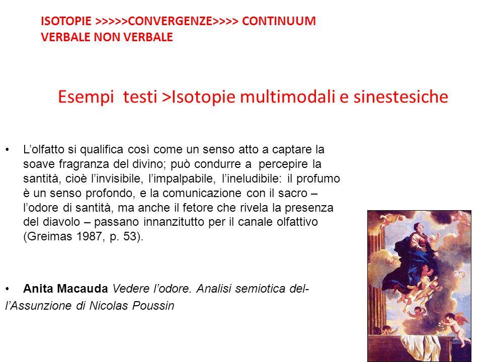 Esempi testi >Isotopie multimodali e sinestesiche Lolfatto si qualifica così come un senso atto a captare la soave fragranza del divino; può condurre