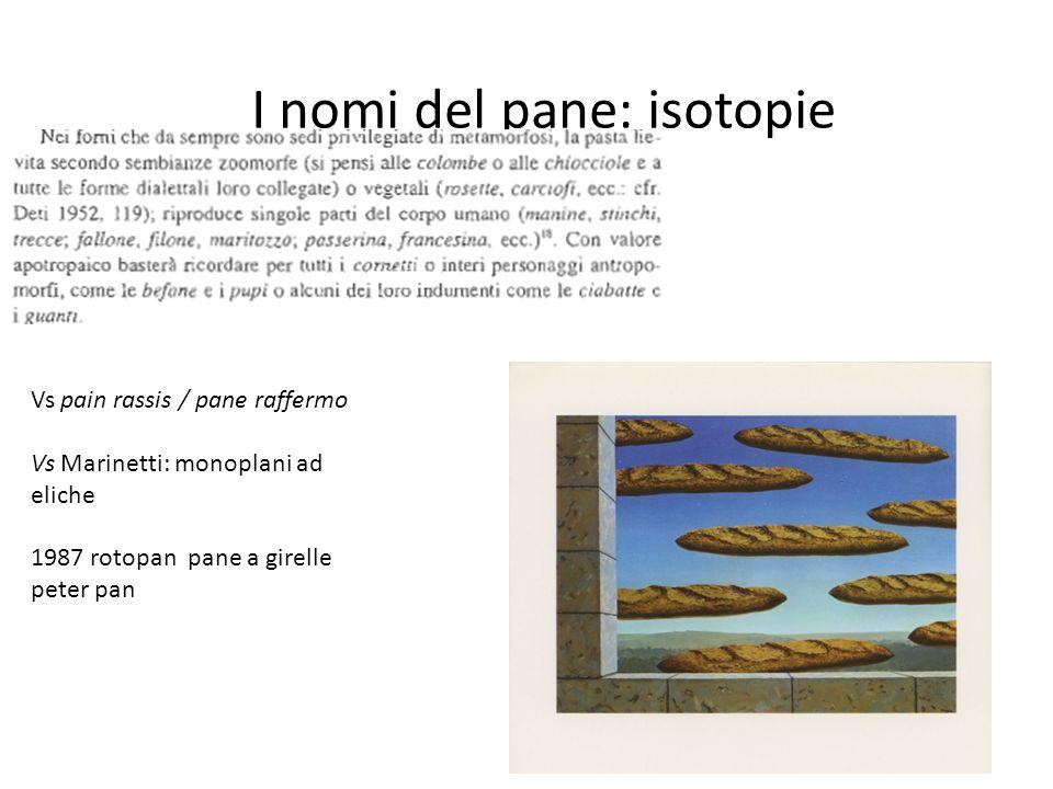 I nomi del pane: isotopie Vs pain rassis / pane raffermo Vs Marinetti: monoplani ad eliche 1987 rotopan pane a girelle peter pan
