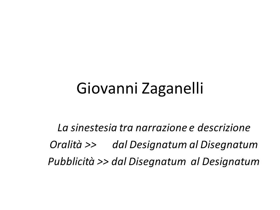 Giovanni Zaganelli La sinestesia tra narrazione e descrizione Oralità >> dal Designatum al Disegnatum Pubblicità >> dal Disegnatum al Designatum