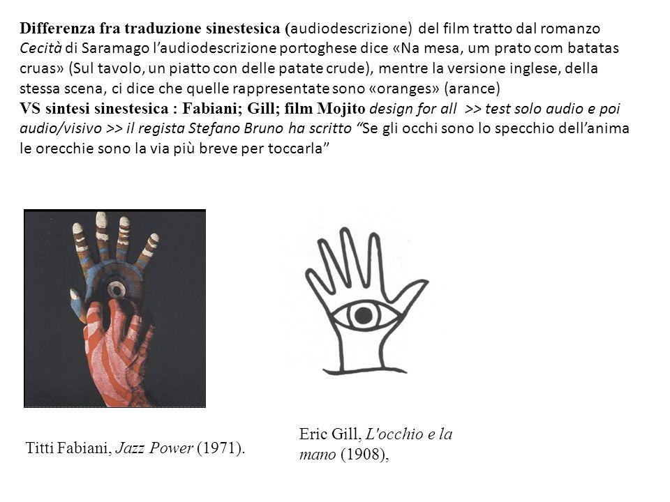 Eric Gill, L'occhio e la mano (1908), Titti Fabiani, Jazz Power (1971). Differenza fra traduzione sinestesica ( audiodescrizione) del film tratto dal