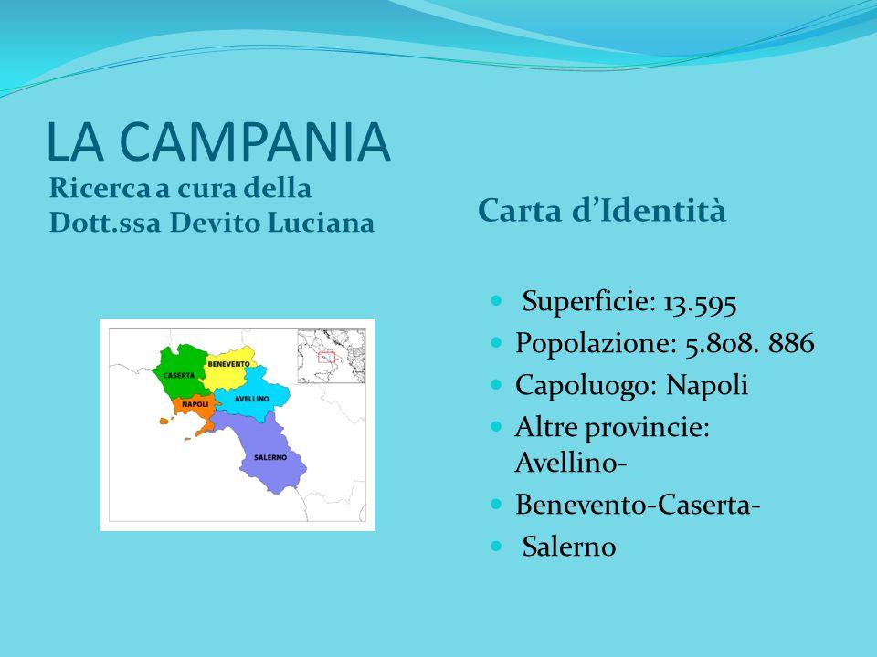 LA CAMPANIA Ricerca a cura della Dott.ssa Devito Luciana Carta dIdentità Superficie: 13.595 Popolazione: 5.808. 886 Capoluogo: Napoli Altre provincie: