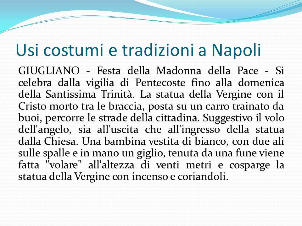 Usi costumi e tradizioni a Napoli GIUGLIANO - Festa della Madonna della Pace - Si celebra dalla vigilia di Pentecoste fino alla domenica della Santiss