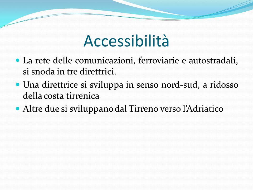 Accessibilità La rete delle comunicazioni, ferroviarie e autostradali, si snoda in tre direttrici. Una direttrice si sviluppa in senso nord-sud, a rid