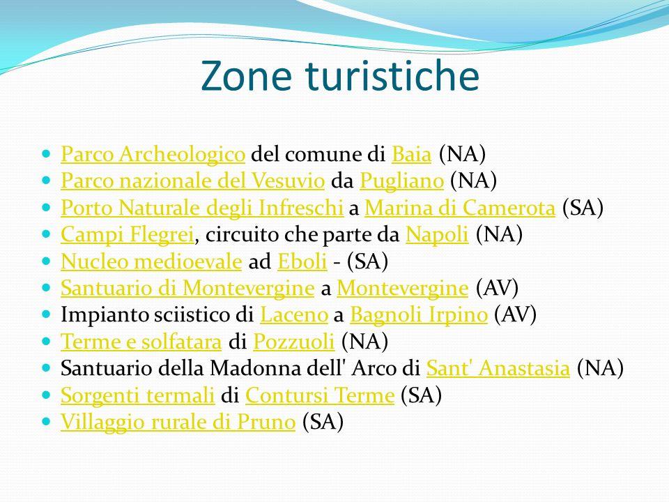 Zone turistiche Parco Archeologico del comune di Baia (NA) Parco ArcheologicoBaia Parco nazionale del Vesuvio da Pugliano (NA) Parco nazionale del Ves
