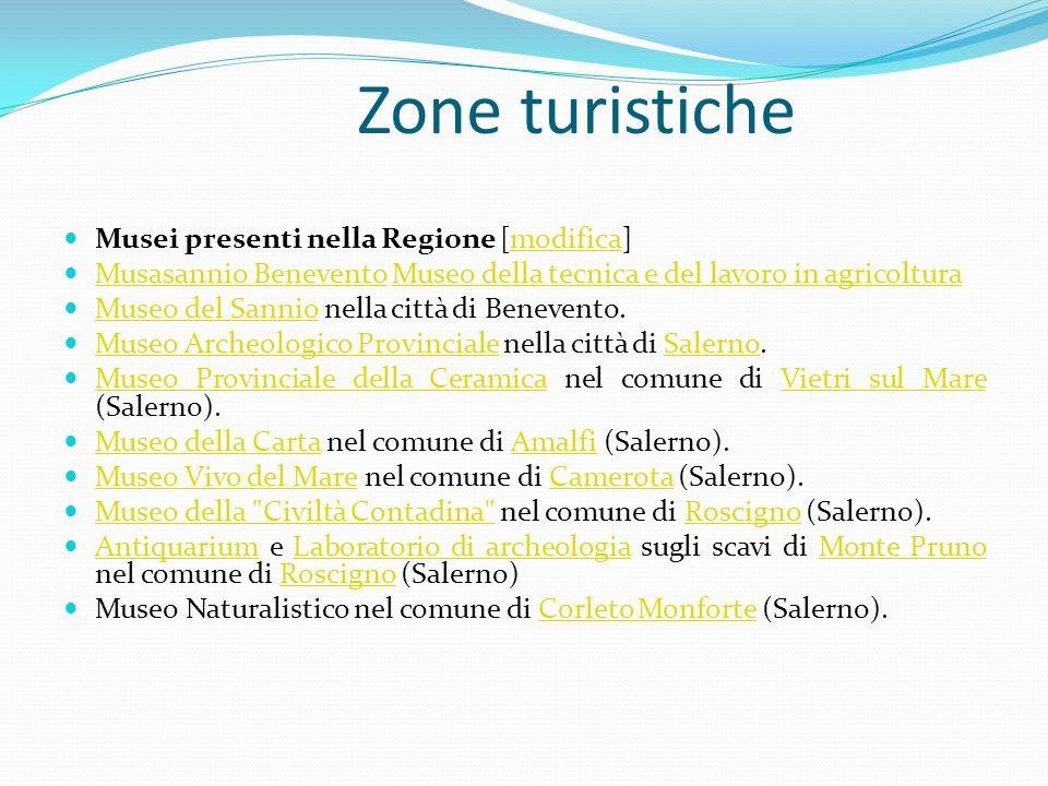 Zone turistiche Musei presenti nella Regione [modifica]modifica Musasannio Benevento Museo della tecnica e del lavoro in agricoltura Musasannio Beneve