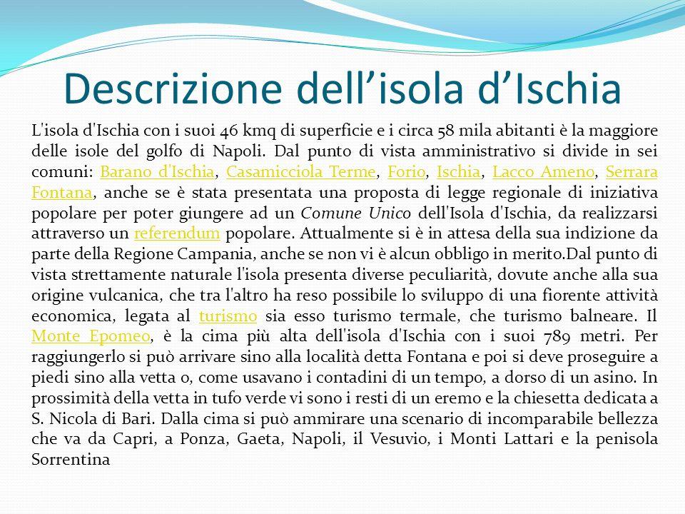 Descrizione dellisola dIschia L'isola d'Ischia con i suoi 46 kmq di superficie e i circa 58 mila abitanti è la maggiore delle isole del golfo di Napol