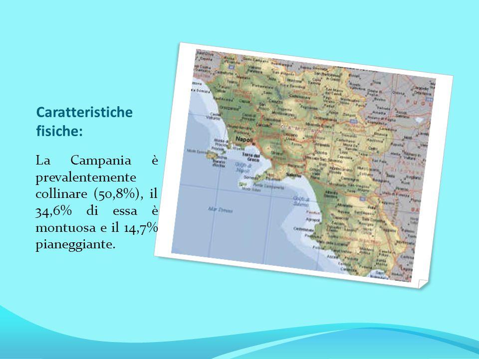 Caratteristiche fisiche: La Campania è prevalentemente collinare (50,8%), il 34,6% di essa è montuosa e il 14,7% pianeggiante.