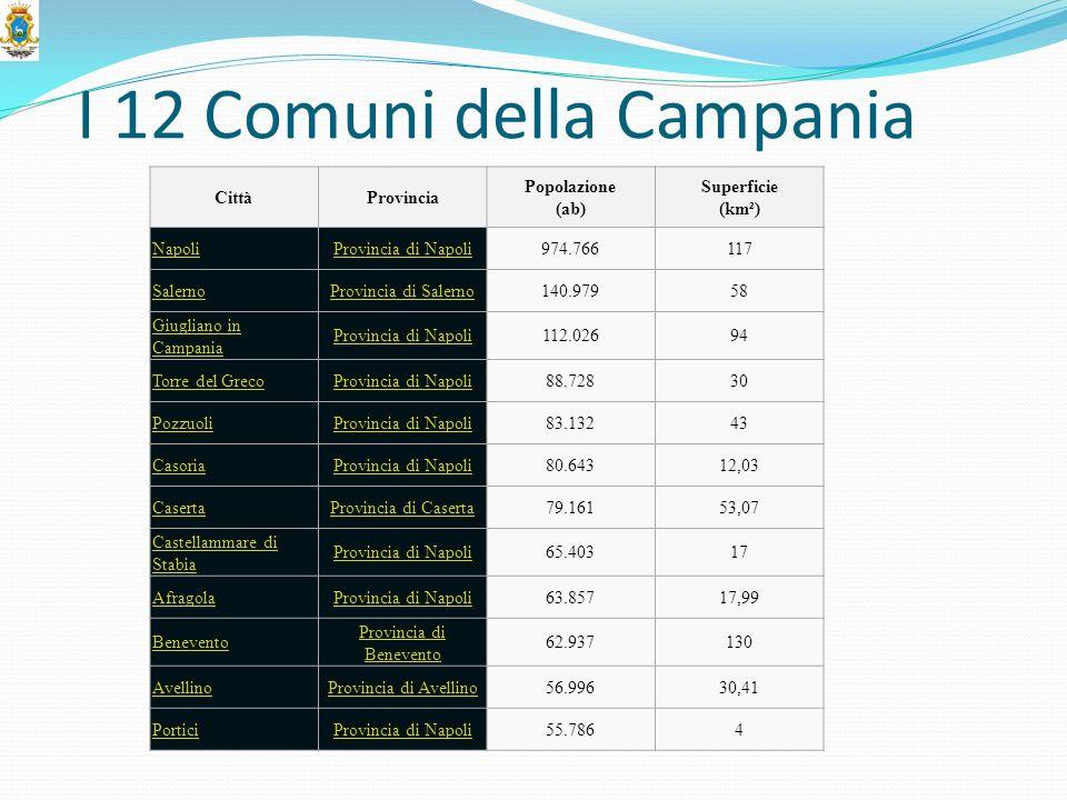 I 12 Comuni della Campania CittàProvincia Popolazione (ab) Superficie (km²) NapoliProvincia di Napoli974.766117 SalernoProvincia di Salerno140.97958 G