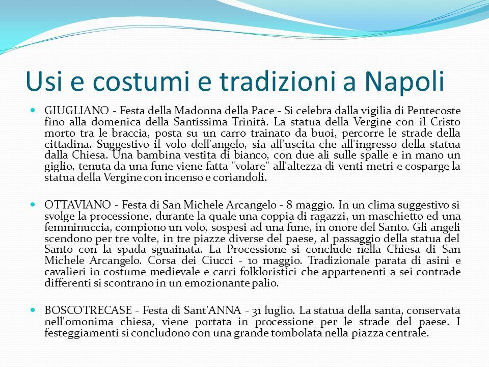 Usi costumi e tradizioni a Napoli GIUGLIANO - Festa della Madonna della Pace - Si celebra dalla vigilia di Pentecoste fino alla domenica della Santissima Trinità.