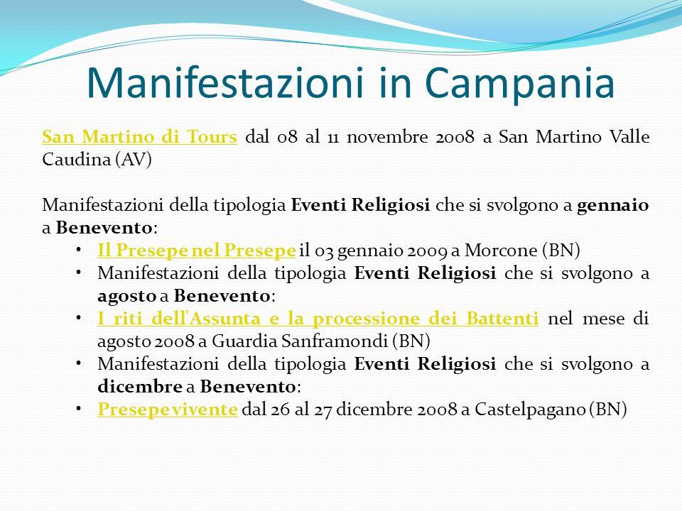Manifestazioni in Campania San Martino di ToursSan Martino di Tours dal 08 al 11 novembre 2008 a San Martino Valle Caudina (AV) Manifestazioni della t