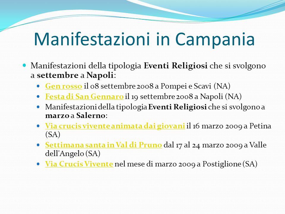 Manifestazioni in Campania Manifestazioni della tipologia Eventi Religiosi che si svolgono a settembre a Napoli: Gen rosso il 08 settembre 2008 a Pomp
