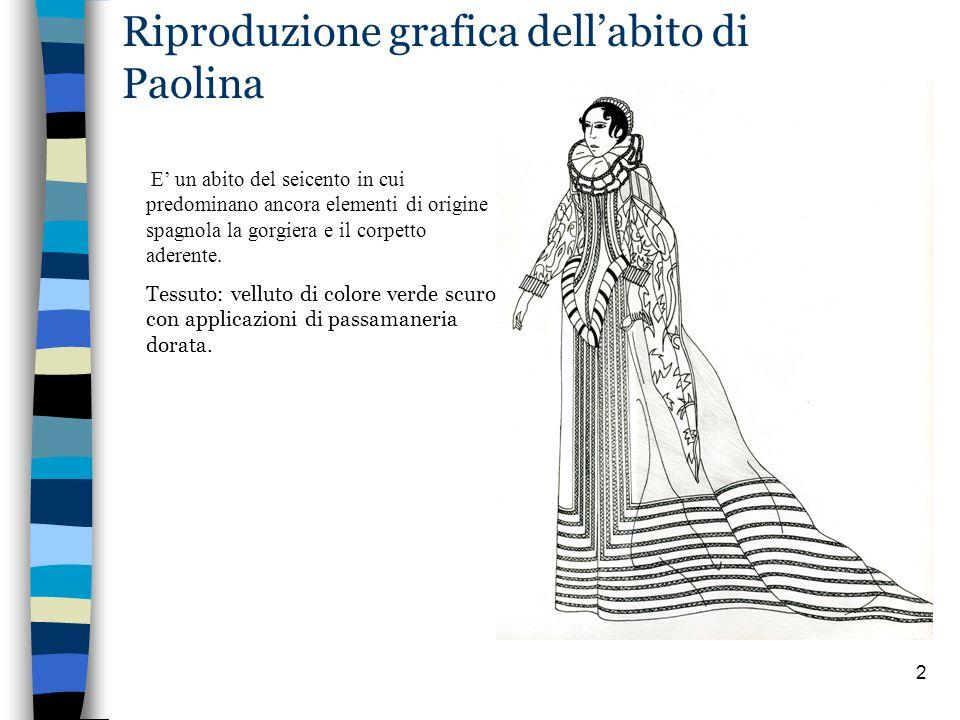2 Riproduzione grafica dellabito di Paolina E un abito del seicento in cui predominano ancora elementi di origine spagnola la gorgiera e il corpetto a