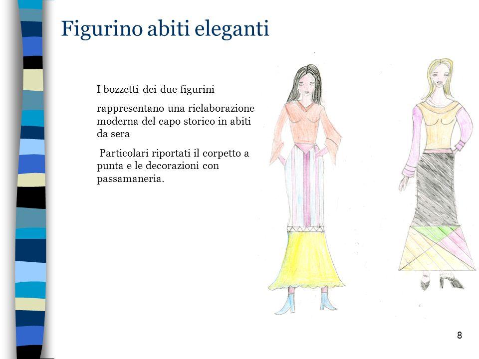 8 Figurino abiti eleganti I bozzetti dei due figurini rappresentano una rielaborazione moderna del capo storico in abiti da sera Particolari riportati