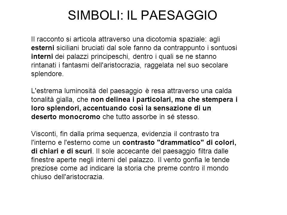 SIMBOLI: IL PAESAGGIO Il racconto si articola attraverso una dicotomia spaziale: agli esterni siciliani bruciati dal sole fanno da contrappunto i sont