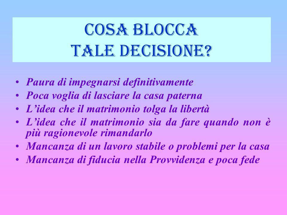 COSA BLOCCA TALE DECISIONE.