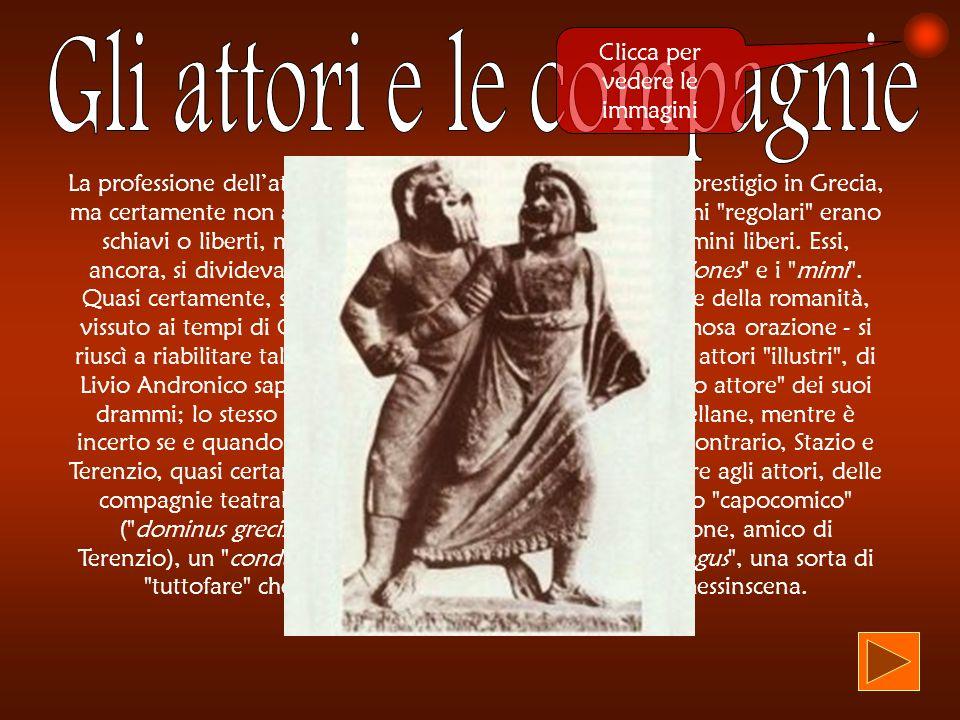 La professione dellattore godette sicuramente di un grosso prestigio in Grecia, ma certamente non a Roma: qui, gli attori (