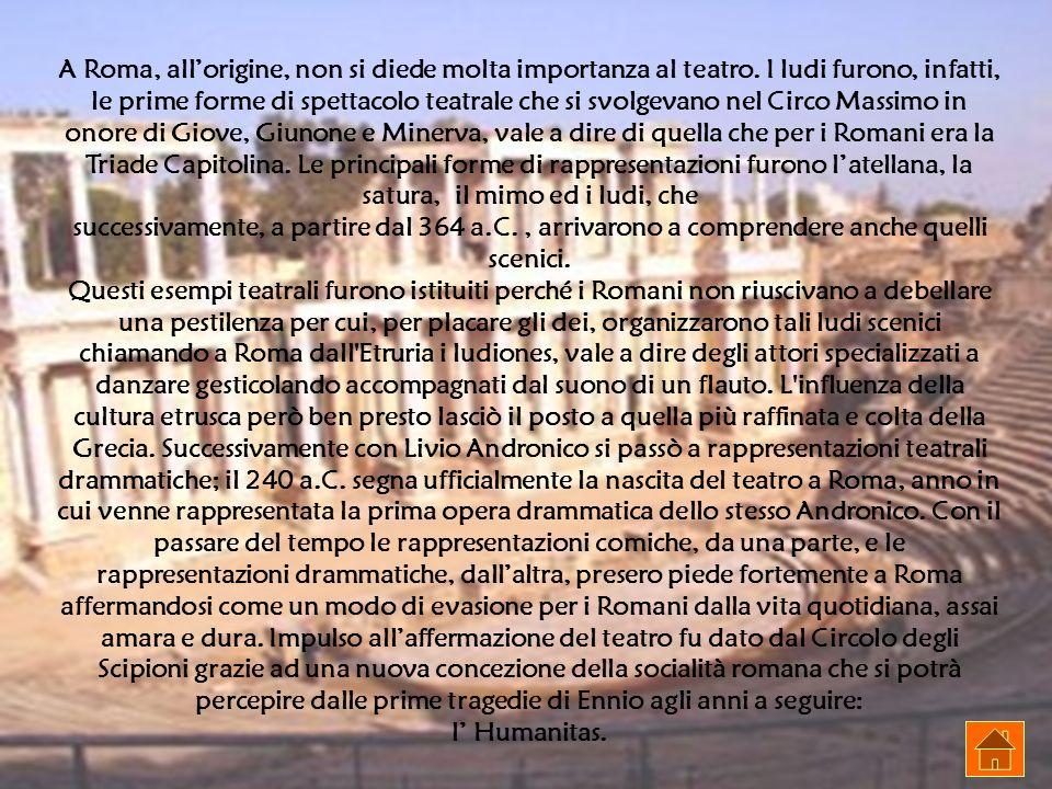 A Roma, allorigine, non si diede molta importanza al teatro. I ludi furono, infatti, le prime forme di spettacolo teatrale che si svolgevano nel Circo
