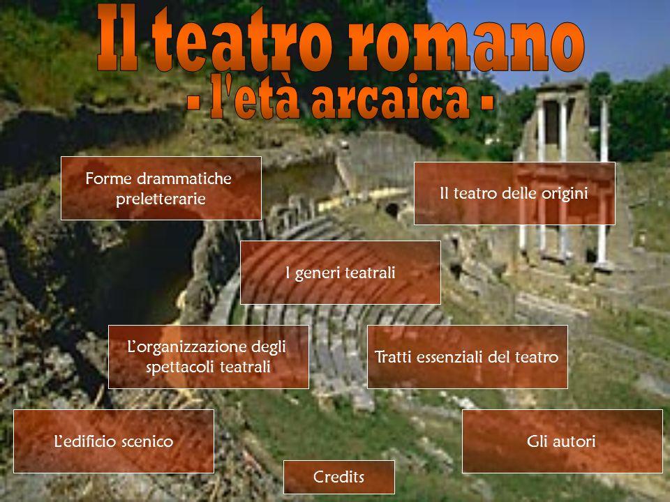 La forma più antica di arte drammatica presso i Romani furono gli scherzi fescennini, una sorta di farsa campagnola in cui alcuni contadini, affidandosi allimprovvisazione, si scambiavano insulti volgari ed osceni.