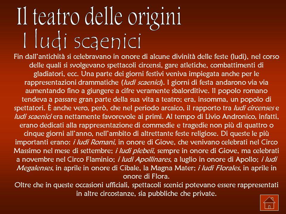 Il teatro latino regolare nasce quando Livio Andronico per la prima volta metteva in scena una vicenda in sé compiuta.