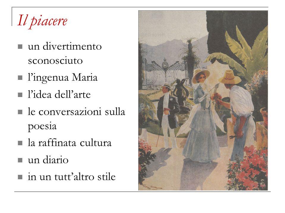 Il piacere un divertimento sconosciuto lingenua Maria lidea dellarte le conversazioni sulla poesia la raffinata cultura un diario in un tuttaltro stil