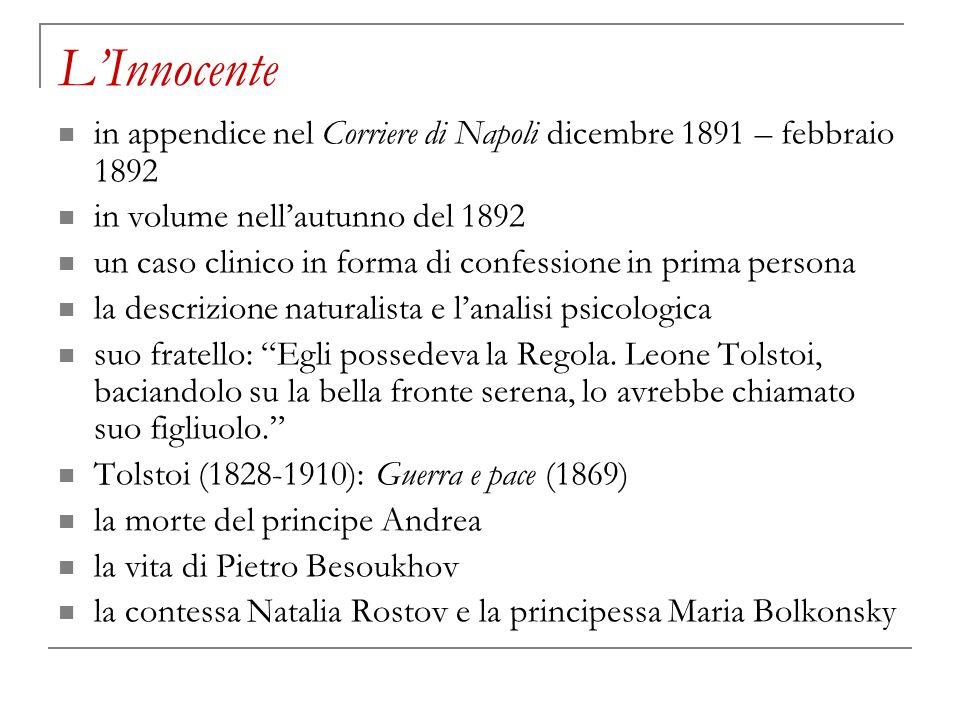 LInnocente in appendice nel Corriere di Napoli dicembre 1891 – febbraio 1892 in volume nellautunno del 1892 un caso clinico in forma di confessione in