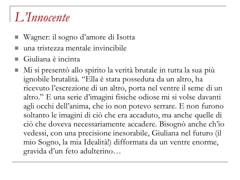 LInnocente Wagner: il sogno damore di Isotta una tristezza mentale invincibile Giuliana è incinta Mi si presentò allo spirito la verità brutale in tut