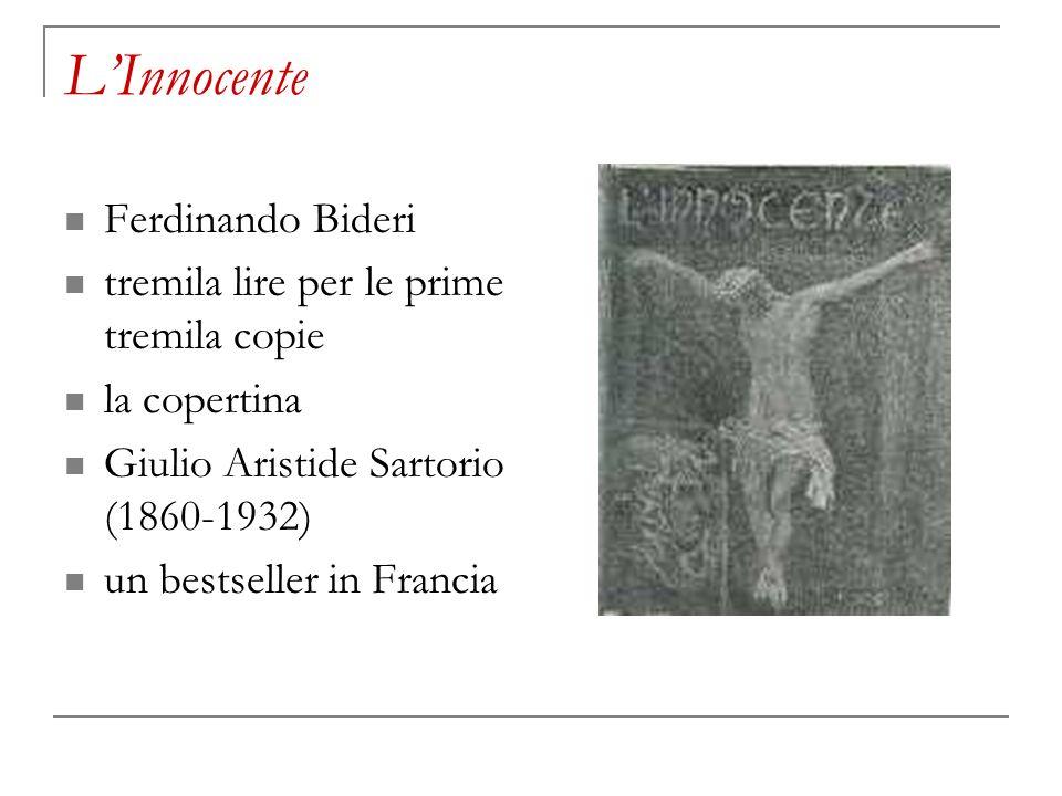 LInnocente Ferdinando Bideri tremila lire per le prime tremila copie la copertina Giulio Aristide Sartorio (1860-1932) un bestseller in Francia
