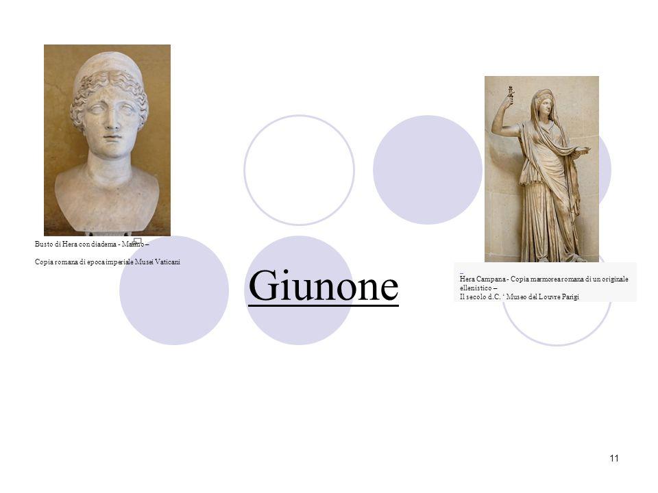 11 Giunone Hera Campana - Copia marmorea romana di un originale ellenistico – Il secolo d.C. Museo del Louvre Parigi Busto di Hera con diadema - Marmo