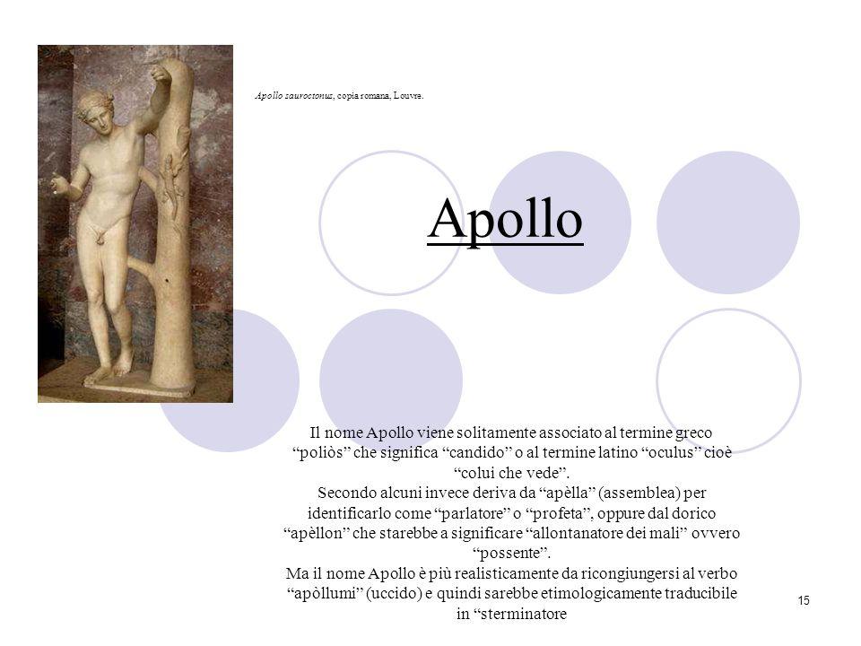 15 Apollo Il nome Apollo viene solitamente associato al termine greco poliòs che significa candido o al termine latino oculus cioè colui che vede. Sec