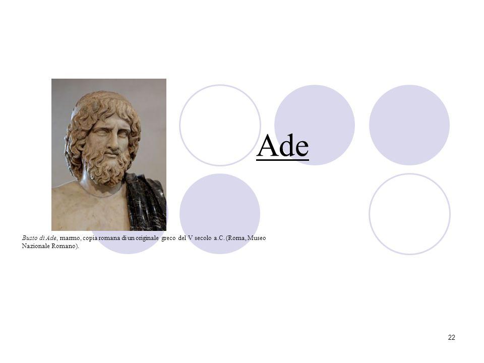 22 Ade Busto di Ade, marmo, copia romana di un originale greco del V secolo a.C. (Roma, Museo Nazionale Romano).
