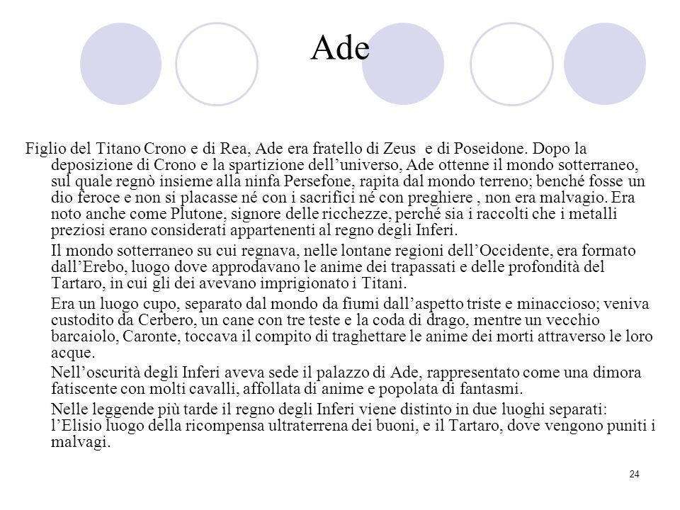 24 Ade Figlio del Titano Crono e di Rea, Ade era fratello di Zeus e di Poseidone. Dopo la deposizione di Crono e la spartizione delluniverso, Ade otte