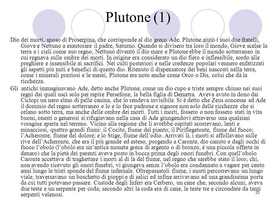 25 Plutone (1) Dio dei morti, sposo di Proserpina, che corrisponde al dio greco Ade. Plutone aiutò i suoi due fratelli, Giove e Nettuno a esautorare i
