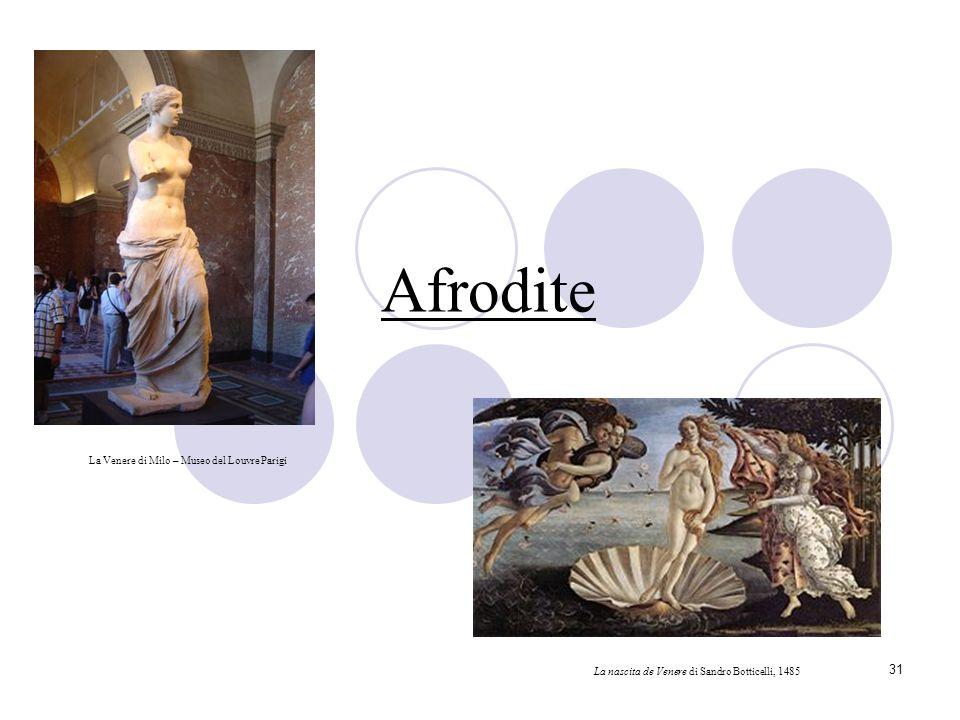 31 Afrodite La Venere di Milo – Museo del Louvre Parigi La nascita de Venere di Sandro Botticelli, 1485