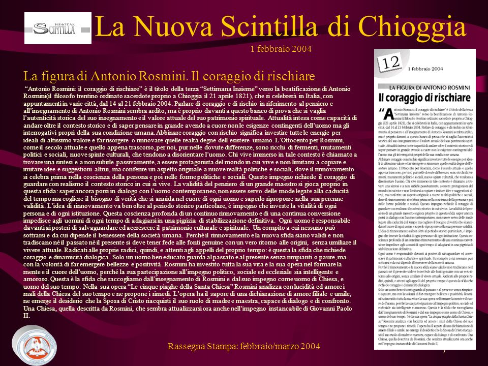 Rassegna Stampa: febbraio/marzo 2004 7 La figura di Antonio Rosmini.