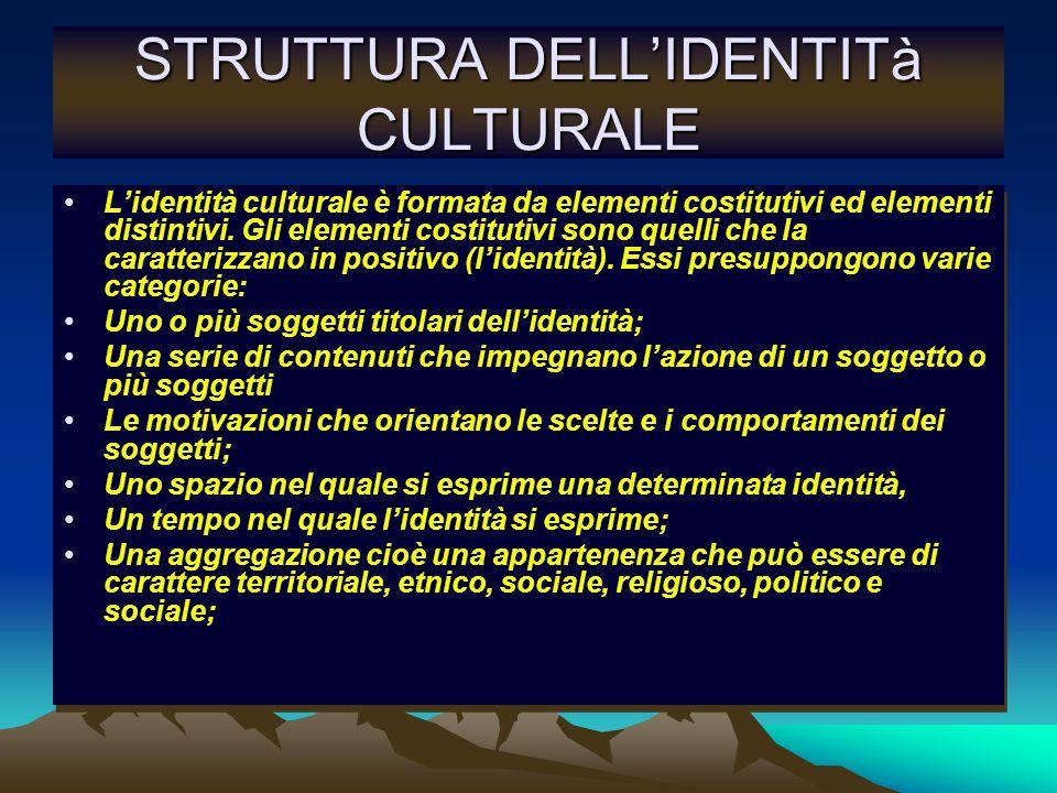 STRUTTURA DELLIDENTITà CULTURALE Lidentità culturale è formata da elementi costitutivi ed elementi distintivi. Gli elementi costitutivi sono quelli ch