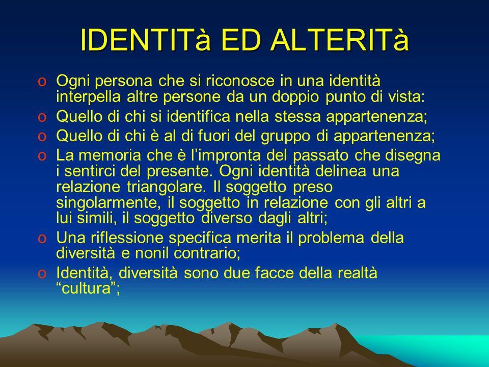 IDENTITà ED ALTERITà oOgni persona che si riconosce in una identità interpella altre persone da un doppio punto di vista: oQuello di chi si identifica