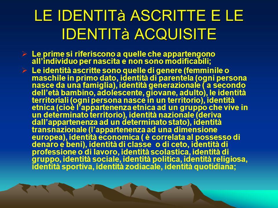 LE IDENTITà ASCRITTE E LE IDENTITà ACQUISITE Le prime si riferiscono a quelle che appartengono allindividuo per nascita e non sono modificabili; Le id