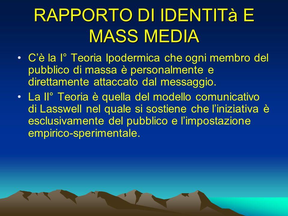 RAPPORTO DI IDENTITà E MASS MEDIA Cè la I° Teoria Ipodermica che ogni membro del pubblico di massa è personalmente e direttamente attaccato dal messag