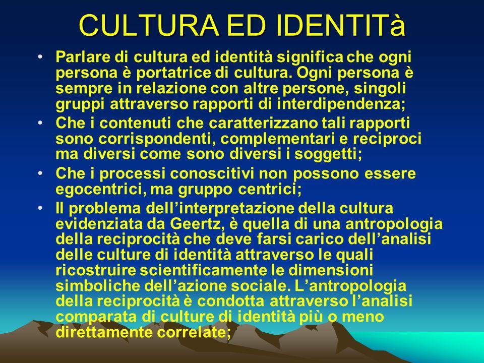 CULTURA ED IDENTITà Parlare di cultura ed identità significa che ogni persona è portatrice di cultura. Ogni persona è sempre in relazione con altre pe