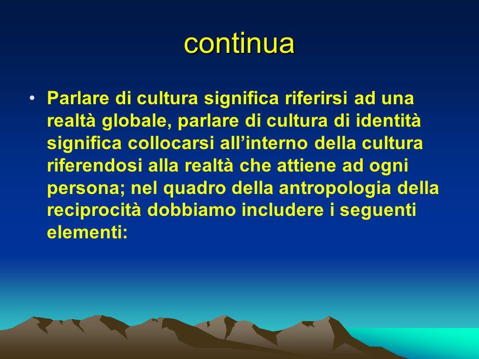 continua Parlare di cultura significa riferirsi ad una realtà globale, parlare di cultura di identità significa collocarsi allinterno della cultura ri
