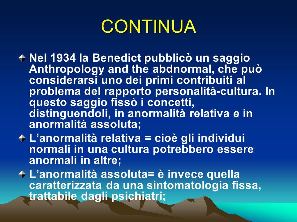 CONTINUA Nel 1934 la Benedict pubblicò un saggio Anthropology and the abdnormal, che può considerarsi uno dei primi contribuiti al problema del rappor