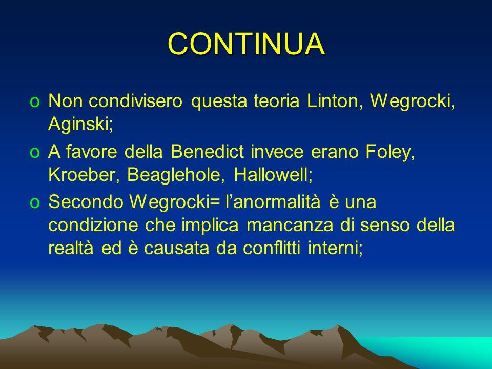CONTINUA oNon condivisero questa teoria Linton, Wegrocki, Aginski; oA favore della Benedict invece erano Foley, Kroeber, Beaglehole, Hallowell; oSecon