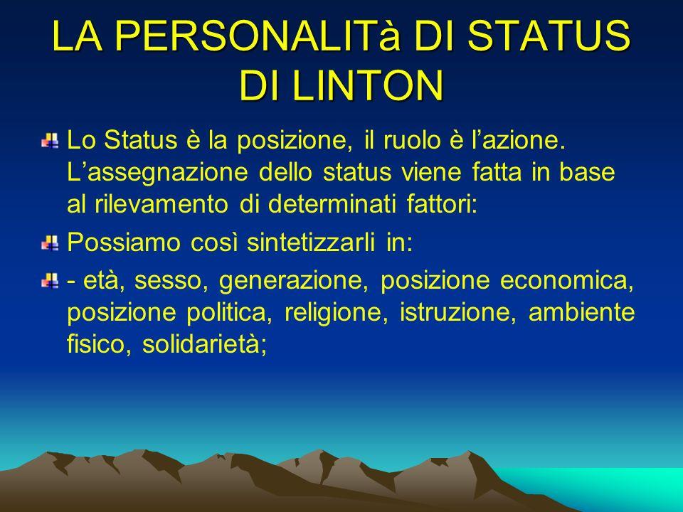 LA PERSONALITà DI STATUS DI LINTON Lo Status è la posizione, il ruolo è lazione. Lassegnazione dello status viene fatta in base al rilevamento di dete