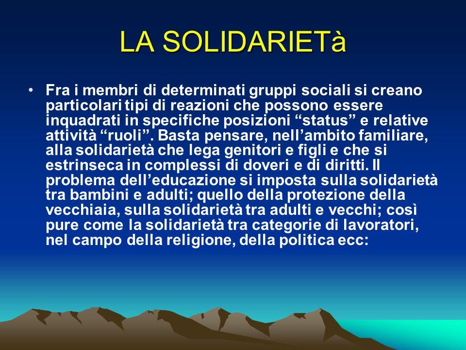 LA SOLIDARIETà Fra i membri di determinati gruppi sociali si creano particolari tipi di reazioni che possono essere inquadrati in specifiche posizioni