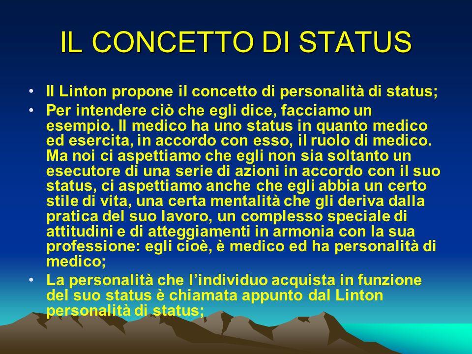 IL CONCETTO DI STATUS Il Linton propone il concetto di personalità di status; Per intendere ciò che egli dice, facciamo un esempio. Il medico ha uno s