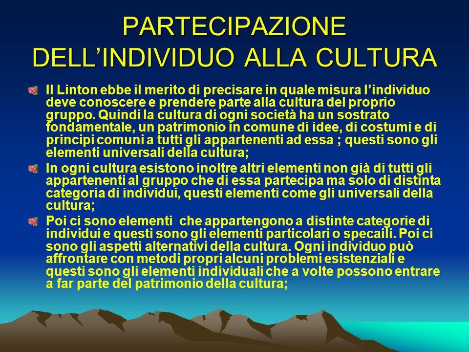 PARTECIPAZIONE DELLINDIVIDUO ALLA CULTURA Il Linton ebbe il merito di precisare in quale misura lindividuo deve conoscere e prendere parte alla cultur