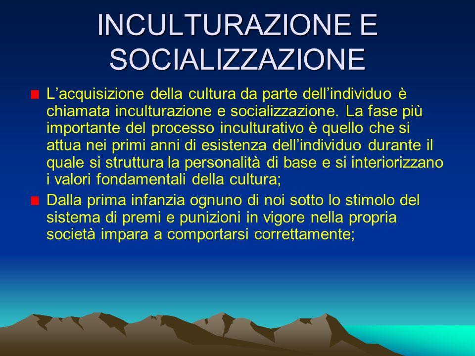INCULTURAZIONE E SOCIALIZZAZIONE Lacquisizione della cultura da parte dellindividuo è chiamata inculturazione e socializzazione. La fase più important