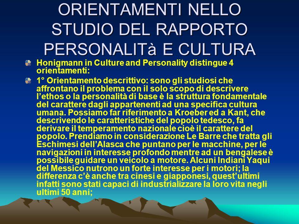 ORIENTAMENTI NELLO STUDIO DEL RAPPORTO PERSONALITà E CULTURA Honigmann in Culture and Personality distingue 4 orientamenti: 1° Orientamento descrittiv